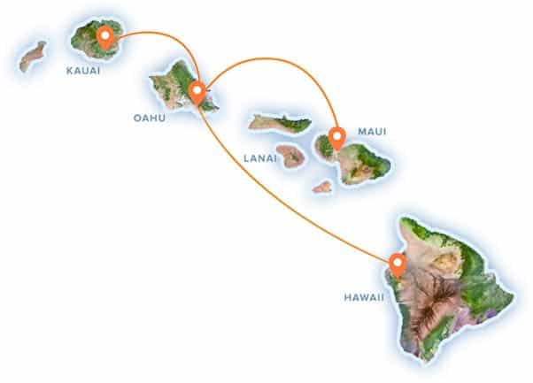 island air, flight map, inter island flights, hawaii