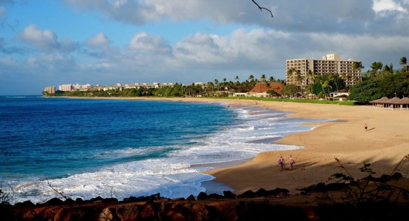 The white-sand beach fronting Kaanapali