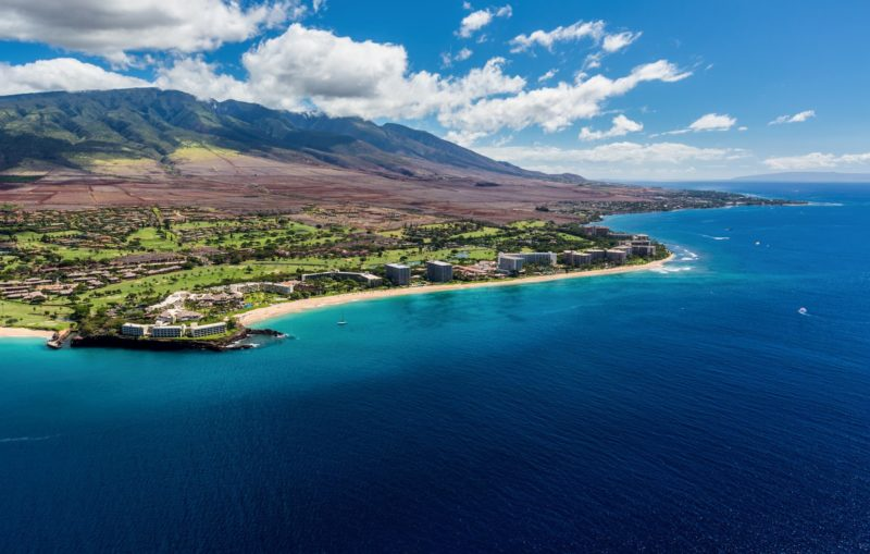 Aerial view of the Kaanapali Resort Area