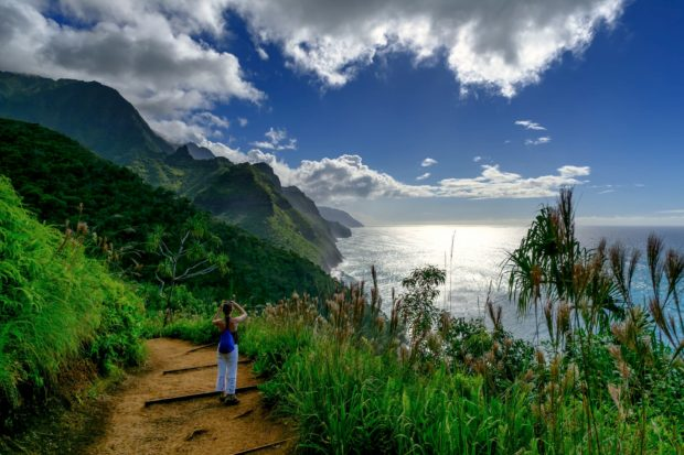 View of the Napali coast from the Kalalau trail