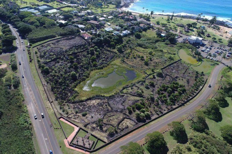 Aerial view of the Kāneiolouma Heiau