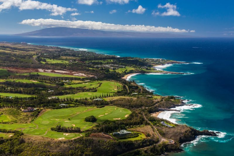 Kapalua golf course with Lanai in the background