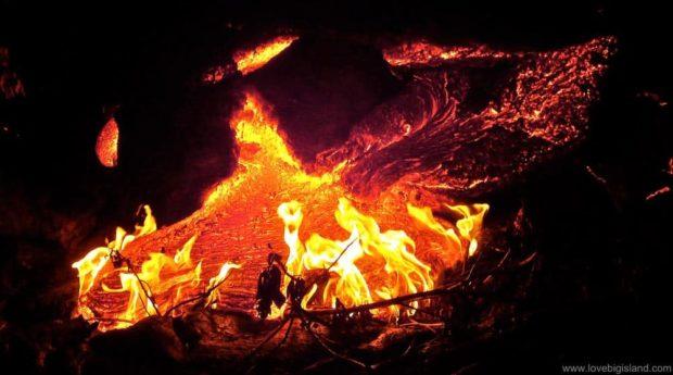 Lava slowly burning its way to the ocean in Kalapana