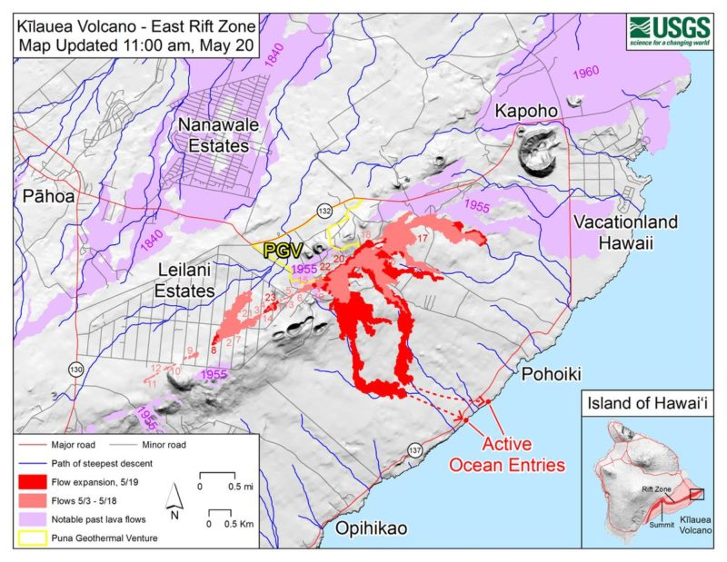 lava update, big island, hawaii, ocean entry