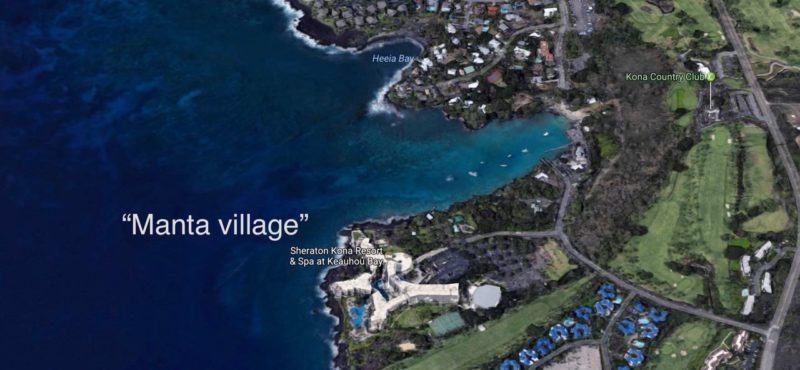 location of the 'manta village' manta ray dive site on the big island, hawaii