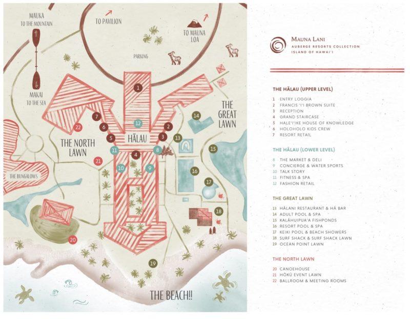 mauna lani resort, mauna lani hotel, big island, resort map, hawaii