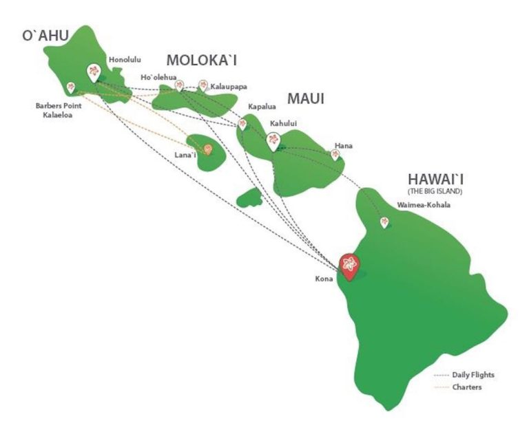 inter island flights, hawaii, mokulele airlines, route map