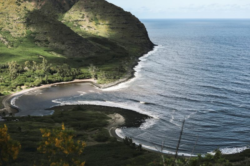 Hālawa Valley Beach Park from the overlook