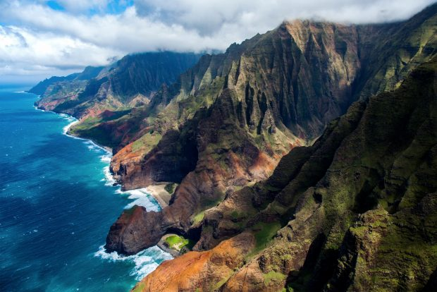 The Nāpali coast cliffs as seen from a helicopter