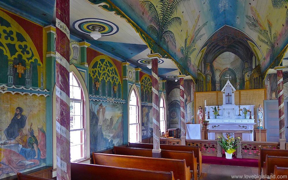 Interior of the Painted church in south Kona on the Big Island of Hawaii