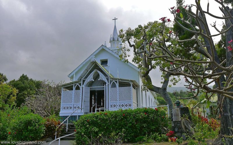 Painted church in south Kona on the Big Island of Hawaii