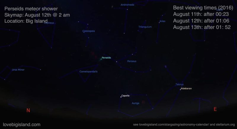 meteor shower, stargazing, big island, hawaii, perseids