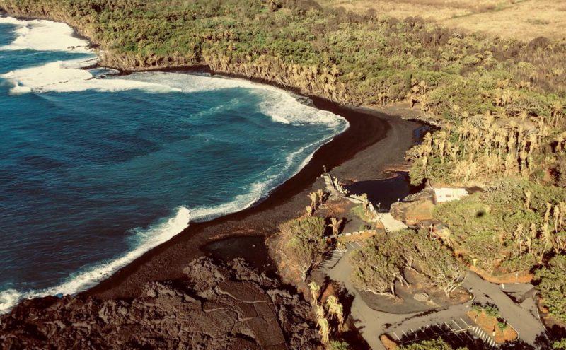 pohoiki black sand beach, pohoiki boat ramp, lerz eruption, black sand beach, big island