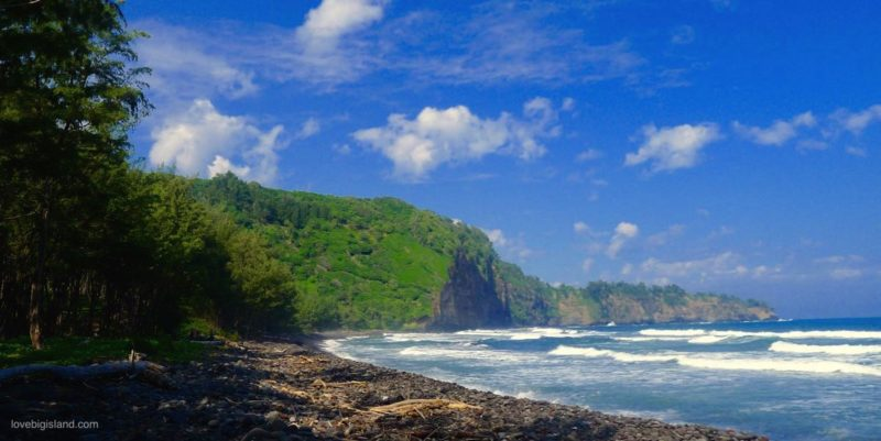 pololu valley, black sand beach, big island, hawaii