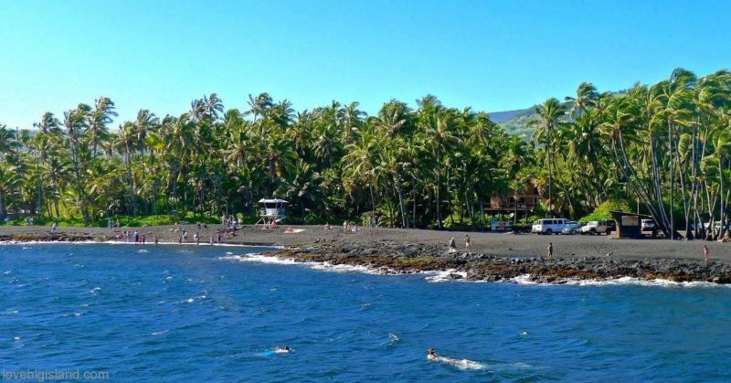 punalu'u, black sand beach, hawaii, big island, beach