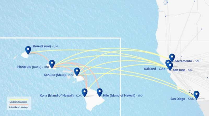 route map Hawaii southwest airlines