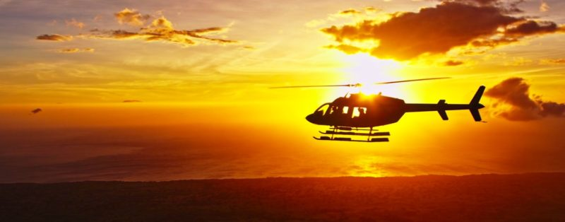 sunset from helicopter in hawaii