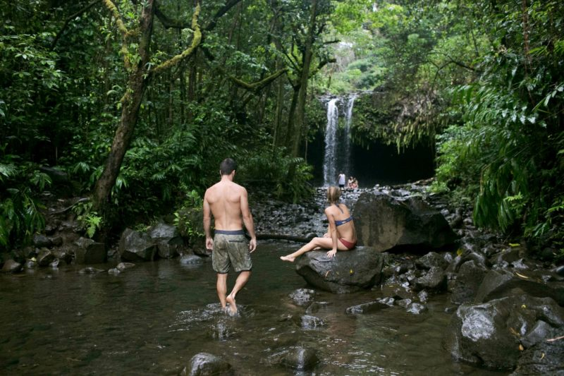 people at the Twin Falls (Maui)