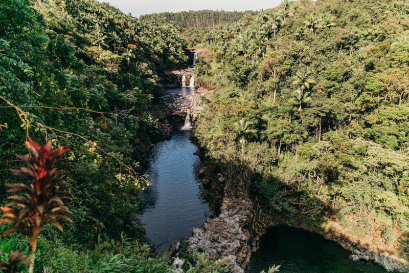 The famous triple-tiered Umauma Falls