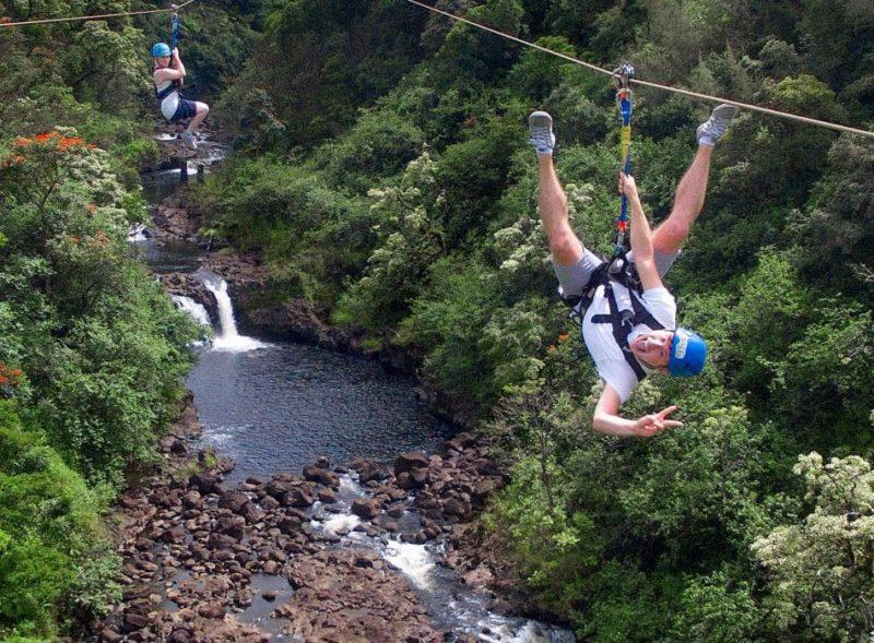 dual zipline over umaumau river