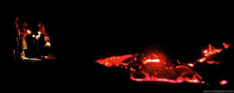 Lava flow visit at night