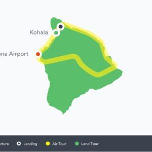 Route for the Volcano Kohala landing tour