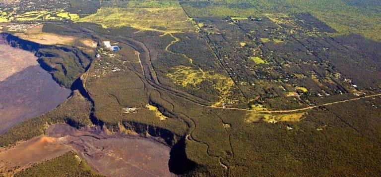 Volcano village and hawaii volcanoes nationl park aerial