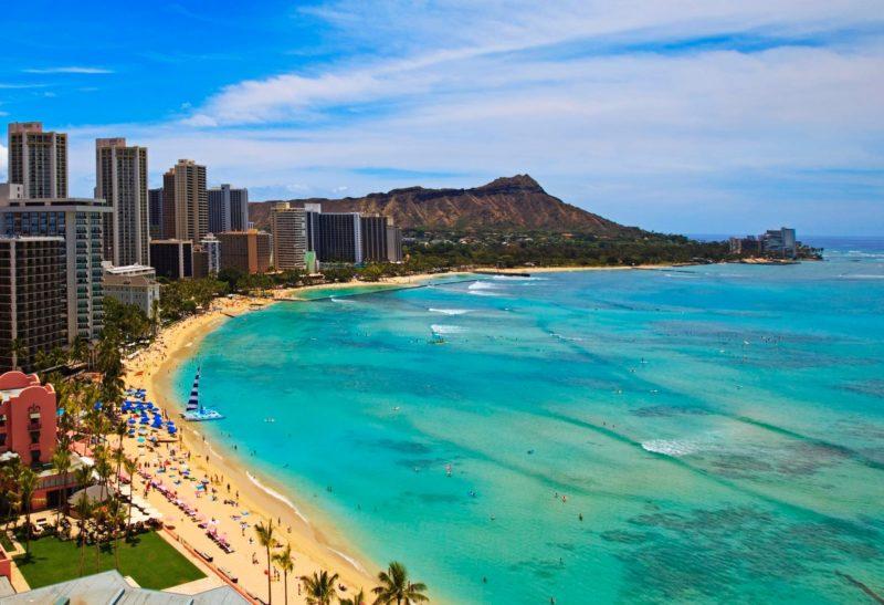 Waikiki Beach and the Diamond Head crater