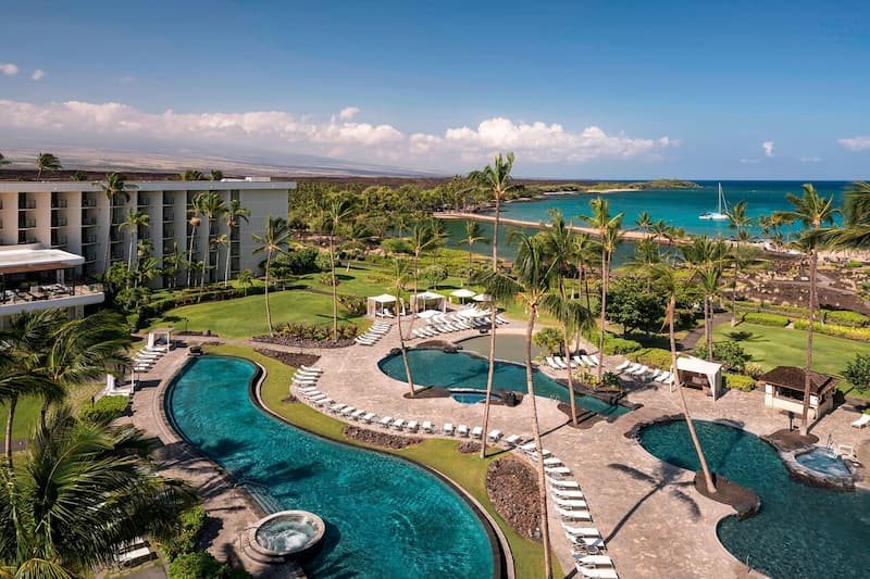 Several pools on the resort grounds of the Waikoloa Beach Marriott Resort & Spa