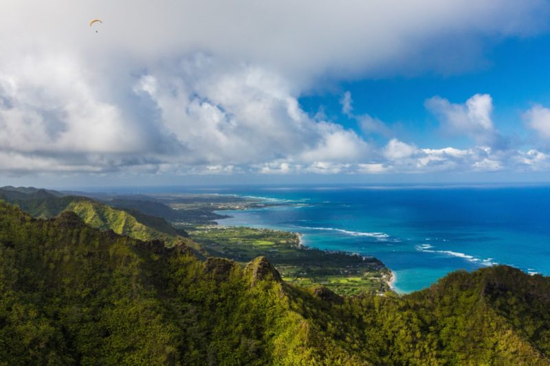 trees and mountains on the Windward Oahu coast
